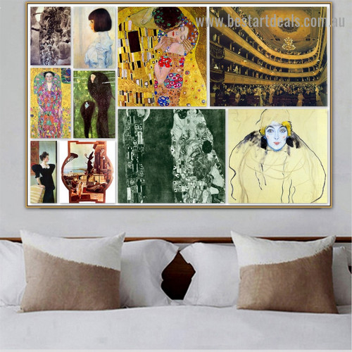 Gustav Klimt Collage XIV Symbolism Old Famous Master Artist Reproduction Artwork Portrait Canvas Print for Room Wall Décor