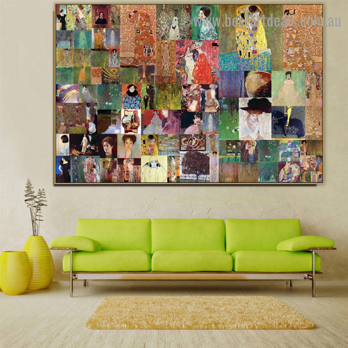 Gustav Klimt Collage XV Symbolism Reproduction Artwork Picture Canvas Print for Room Wall Ornament