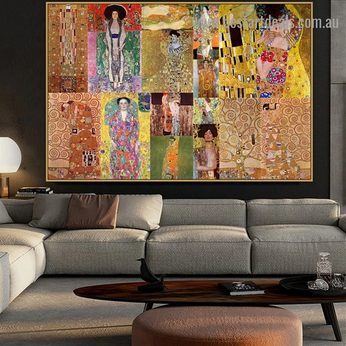 Gustav Klimt Collage XVI Symbolism Old Famous Master Artist Reproduction Artwork Portrait Canvas Print for Room Wall Décor