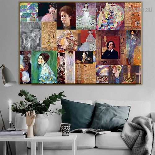 Gustav Klimt Collage XVII Symbolism Reproduction Artwork Photo Canvas Print for Room Wall Adornment