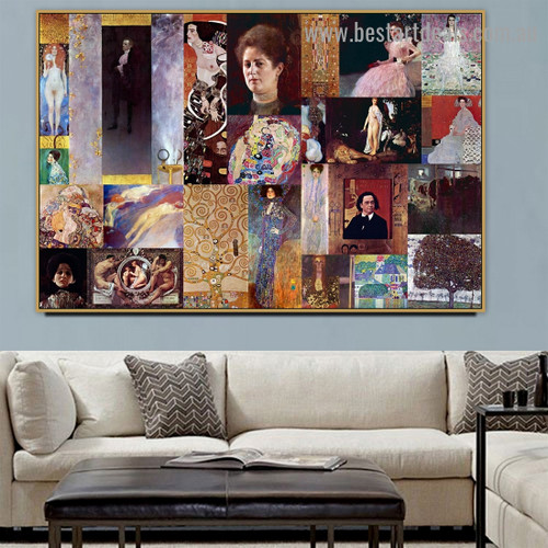 Gustav Klimt Collage XVIII Symbolism Old Famous Master Artist Reproduction Artwork Image Canvas Print for Room Wall Ornament