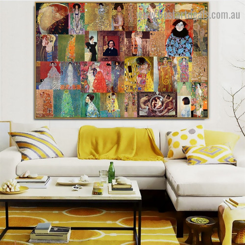 Gustav Klimt Collage XIX Symbolism Old Famous Master Artist Reproduction Artwork Photo Canvas Print for Room Wall Garniture