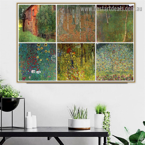 Gustav Klimt Collage XX Symbolism Old Famous Master Artist Reproduction Artwork Picture Canvas Print for Room Wall Garniture