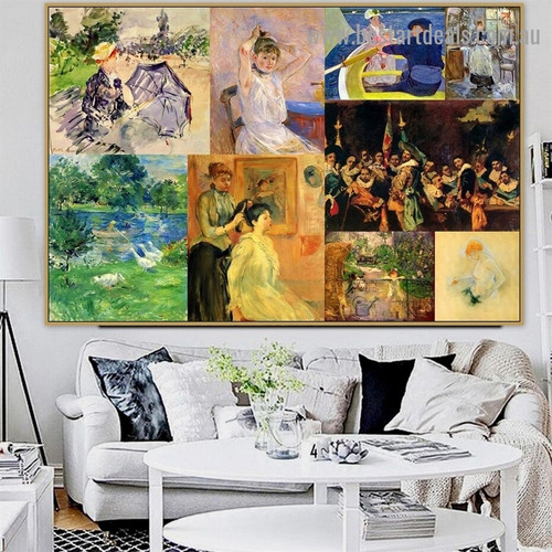 Cassatt and Morisot Collage II Impressionism Old Famous Master Artist Artwork Photo Reproduction Canvas Print for Wall Décor