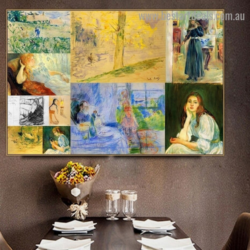 Cassatt and Morisot Collage III Impressionism Old Famous Master Artist Artwork Photo Reproduction Canvas Print for Room Wall Garniture