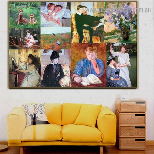 Cassatt and Morisot Collage IV Impressionism Old Famous Master Artist Artwork Portrait Reproduction Canvas Print for Room Wall Ornament