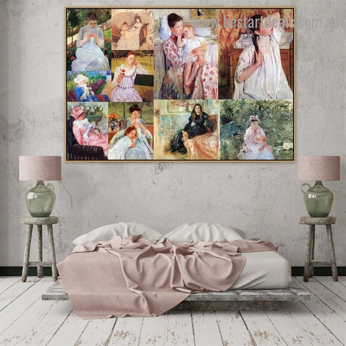 Cassatt and Morisot Collage V Impressionism Old Famous Master Artist Portrait Painting Reproduction Canvas Print for Room Wall Décor