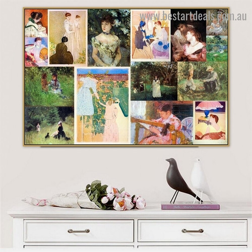 Cassatt and Morisot Collage VI Impressionism Old Famous Master Artist Artwork Image Reproduction Canvas Print for Room Wall Garniture