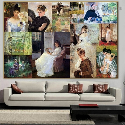 Cassatt and Morisot Collage VII Impressionism Old Famous Master Artist Artwork Portrait Reproduction Canvas Print for Room Wall Garniture