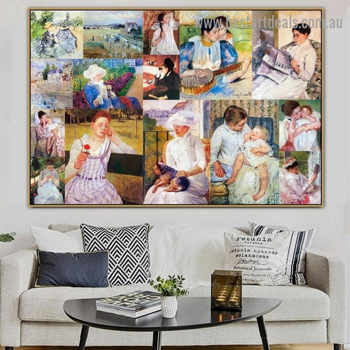 Cassatt and Morisot Collage VIII Impressionism Old Famous Master Artist Artwork Photo Reproduction Canvas Print for Room Wall Decoration