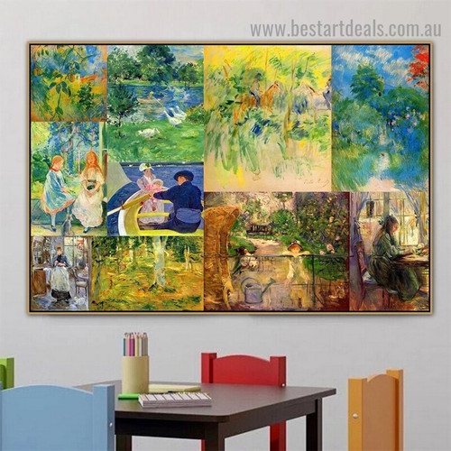Cassatt and Morisot Collage IX Impressionism Old Famous Master Artist Artwork Photo Reproduction Canvas Print Room for Wall Adornment