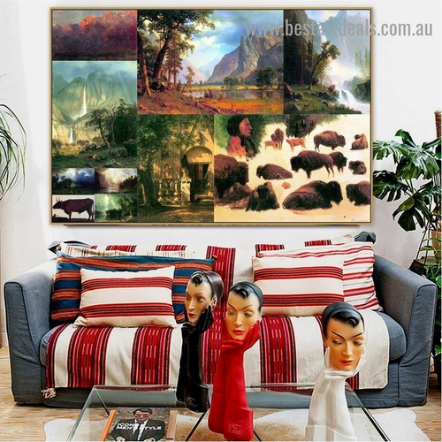 Albert Bierstadt Collage Romanticism Old Famous Master Artist Artwork Picture Reproduction Canvas Print Room for Wall Ornament