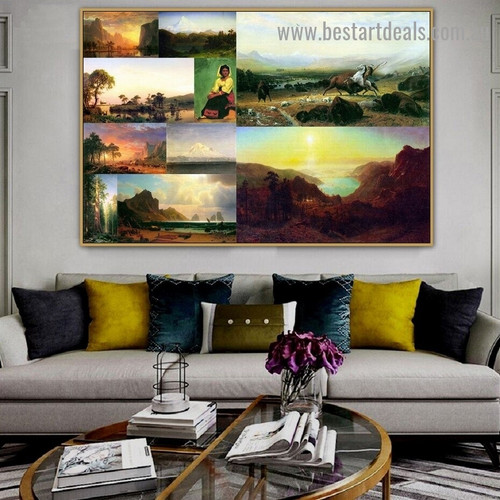 Albert Bierstadt Collage I Romanticism Old Famous Master Artist Artwork Photo Reproduction Canvas Print Room for Wall Garniture