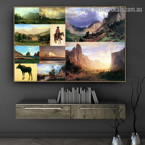 Albert Bierstadt Collage II Romanticism Old Famous Master Artist Artwork Photo Reproduction Canvas Print Room for Wall Adornment