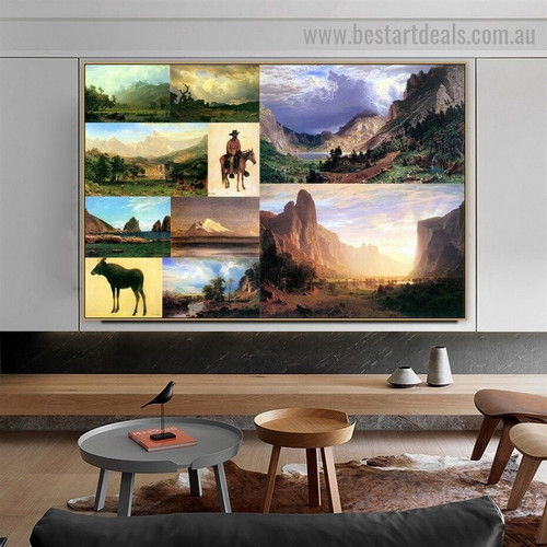 Albert Bierstadt Collage II Romanticism Old Famous Master Artist Artwork Image Reproduction Canvas Print Room for Wall Flourish