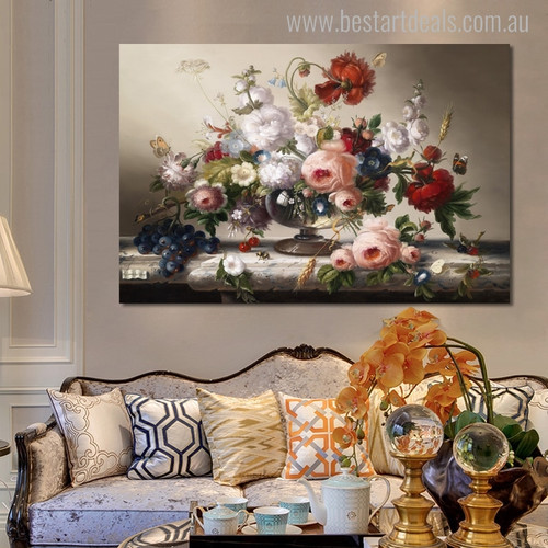 Pot Still Life Floral Canvas Artwork Print for Lounge Room Wall Garnish