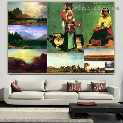 Albert Bierstadt Collage IV Romanticism Old Famous Master Artist Artwork Image Reproduction Canvas Print Room for Wall Drape