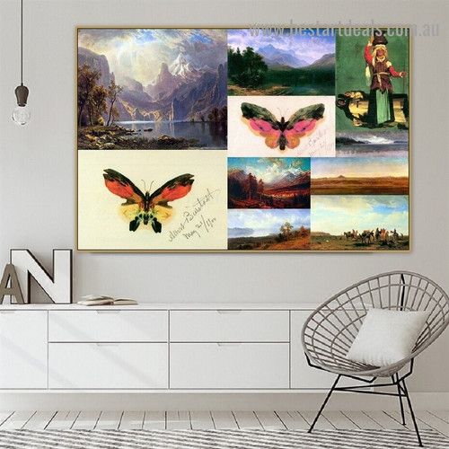 Albert Bierstadt Collage V Romanticism Old Famous Master Artist Artwork Photo Reproduction Canvas Print Room for Wall Adornment