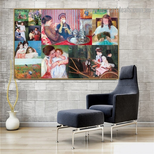 Cassatt and Morisot Collage X Impressionism Old Famous Master Artist Artwork Picture Reproduction Canvas Print Room for Wall Ornament