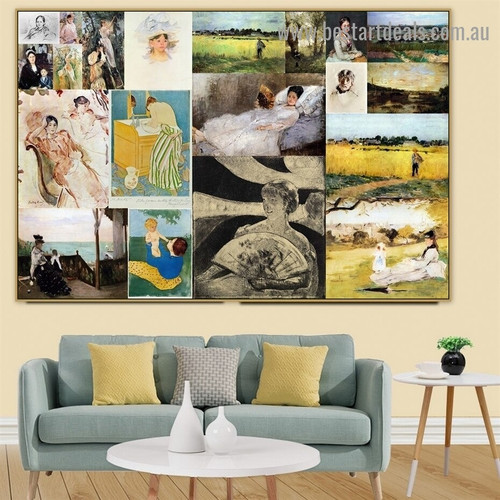 Cassatt and Morisot Collage XIII Impressionism Reproduction Artwork Photo Canvas Print for Room Wall Ornament