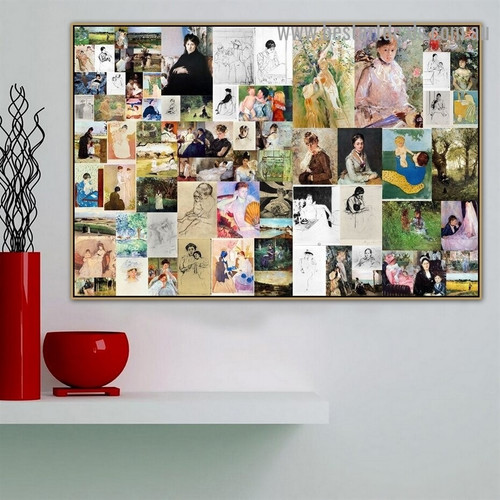 Cassatt and Morisot Collage XIV Impressionism Old Famous Master Artist Artwork Photo Reproduction Canvas Print Room for Wall Adornment