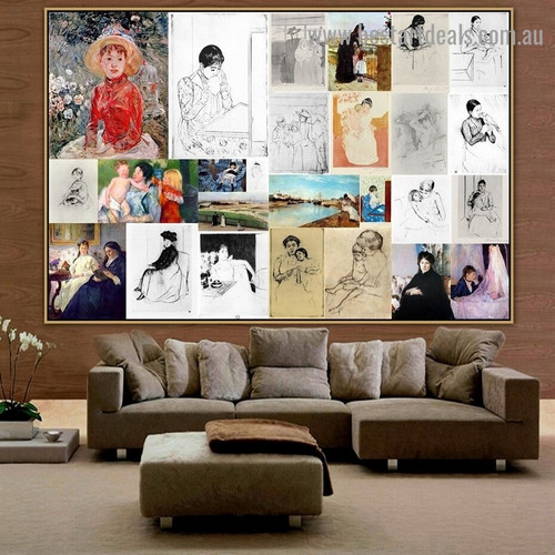 Cassatt and Morisot Collage XV Impressionism Old Famous Master Artist Artwork Photo Reproduction Canvas Print Room for Wall Adornment