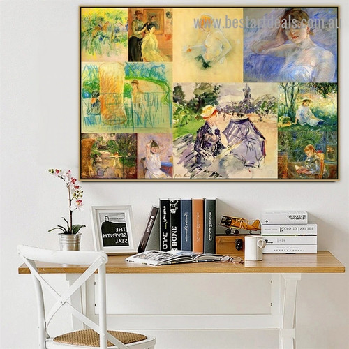 Berthe Marie Pauline Morisot Collage Impressionism Old Famous Master Artist Artwork Picture Reproduction Canvas Print Room for Wall Garniture