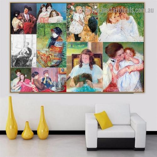 Mary Stevenson Cassatt Collage Impressionism Reproduction Artwork Photo Canvas Print for Room Wall Adornment