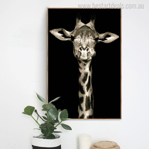 Sleeping Giraffe Modern Animal Portrait Canvas Print for Wall Outfit