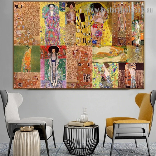 Gustav Klimt Collage XXII Symbolism Old Famous Master Artist Reproduction Artwork Image Canvas Print for Room Wall Garniture