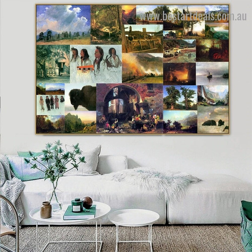 Albert Bierstadt Collage VI Romanticism Old Famous Master Artist Reproduction Portrait Picture Canvas Print Room for Wall Ornament