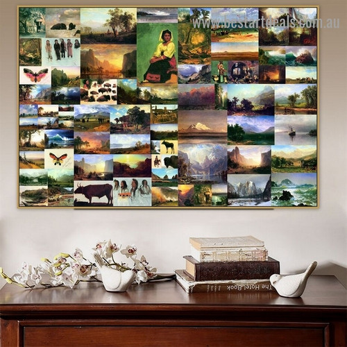 Albert Bierstadt Collage VII Romanticism Old Famous Master Artist Reproduction Artwork Picture Canvas Print Room for Wall Drape