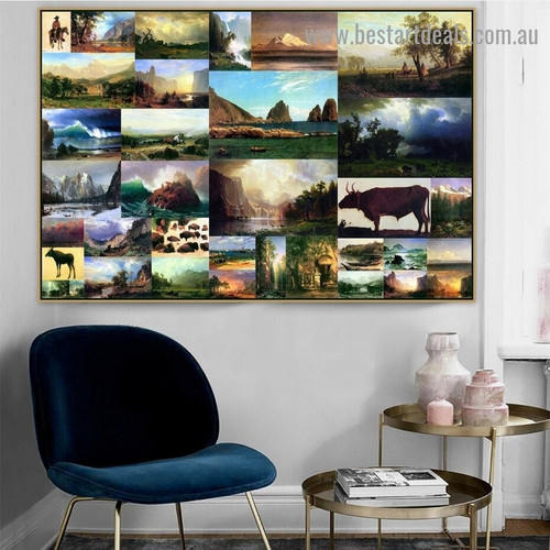 Albert Bierstadt Collage VIII Romanticism Old Famous Master Artist Reproduction Artwork Photo Canvas Print Room for Wall Decoration
