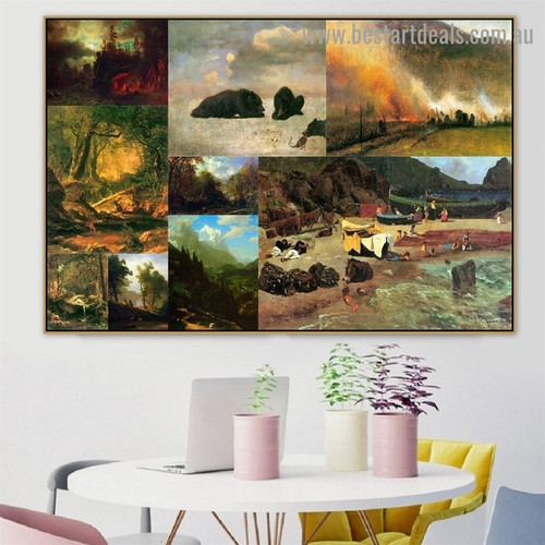Albert Bierstadt Collage IX Romanticism Old Famous Master Artist Reproduction Portrait Image Canvas Print Room for Wall Drape