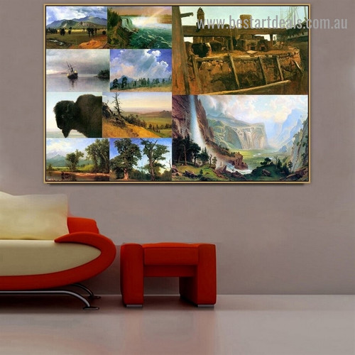 Albert Bierstadt Collage XI Romanticism Old Famous Master Artist Reproduction Portrait Photo Canvas Print Room for Wall Ornament