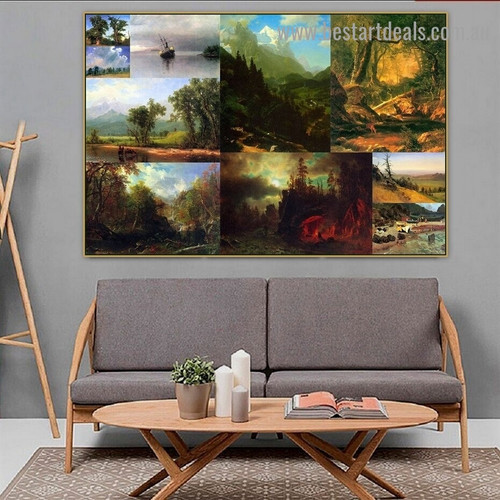 Albert Bierstadt Collage XII Romanticism Old Famous Master Artist Reproduction Portrait Picture Canvas Print Room for Wall Drape