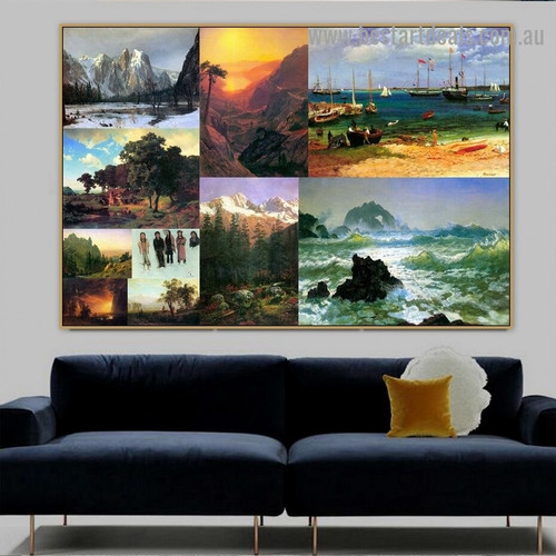 Albert Bierstadt Collage XIII Romanticism Old Famous Master Artist Reproduction Artwork Image Canvas Print Room for Wall Ornament