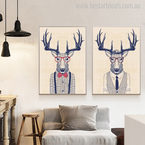 Formal Deer's Modern Animal Picture Print for Living Room Wall Adornment
