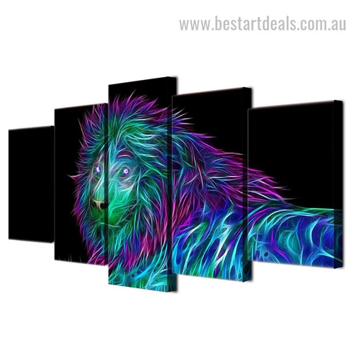 3D Lion Abstract Animal Large Split Canvas Portraiture Picture Print