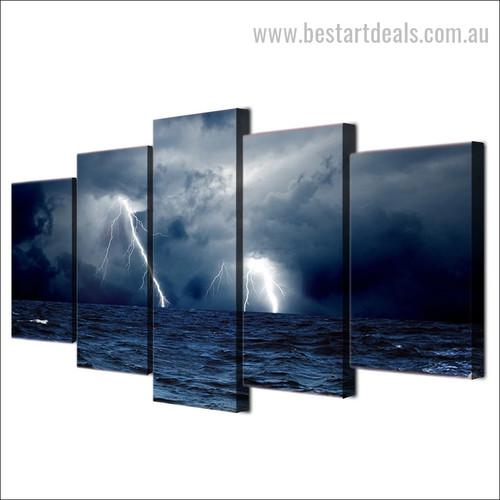 Lightning Storm Seascape Nature Smudge Pic Large Canvas Print