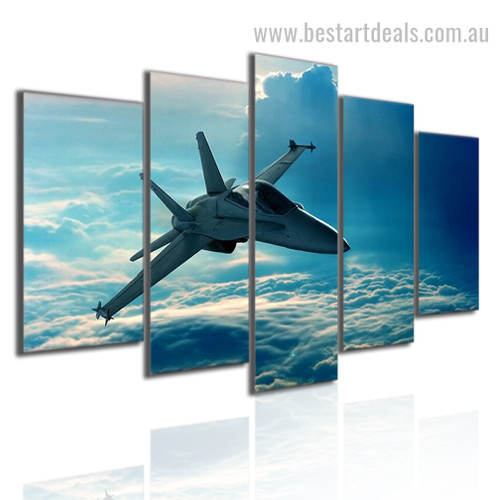 Fighter Skyscape Nature Modern Effigy Pic Large Split Canvas Wall Art Print