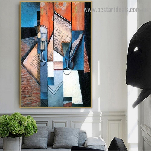 The Book Juan Gris Still Life Cubism Reproduction Artwork Image Canvas Print for Room Wall Adornment