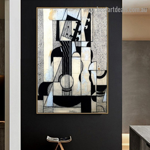 Still Life with Guitar Juan Gris Cubism Reproduction Artwork Image Canvas Print for Room Wall Garnish