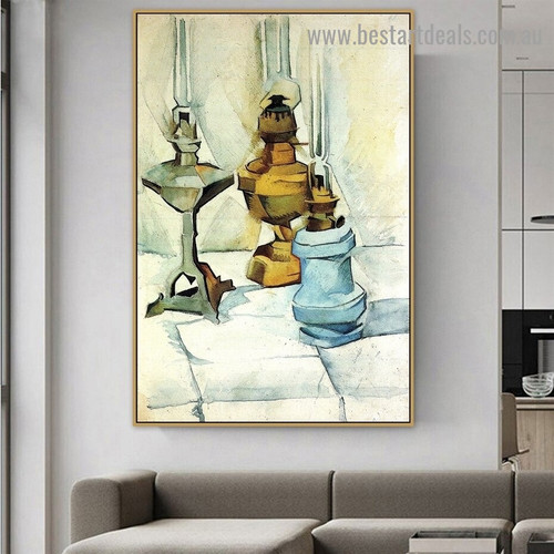 Three Lamps Juan Gris Still Life Cubism Reproduction Artwork Photo Canvas Print for Room Wall Decoration