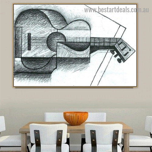 The Guitar Juan Gris Still Life Music Cubism Reproduction Artwork Portrait Canvas Print for Room Wall Adornment