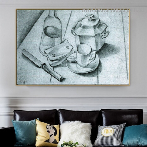 The Tobacco Pouch Juan Gris Still Life Cubism Reproduction Portrait Picture Canvas Print for Room Wall Garniture