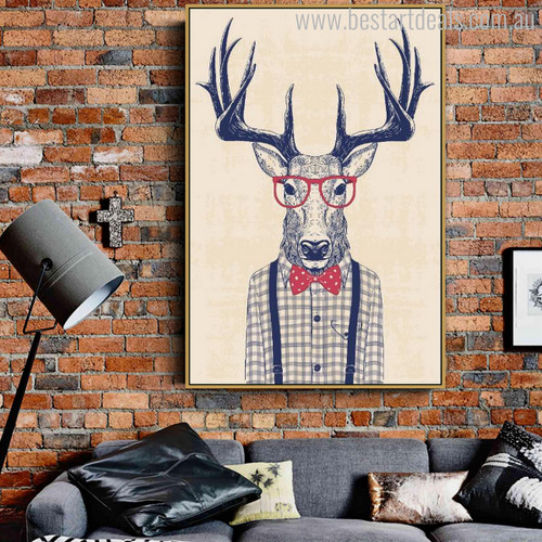 Stag Contemporary Animal Canvas Artwork Image Print for Wall Ornament