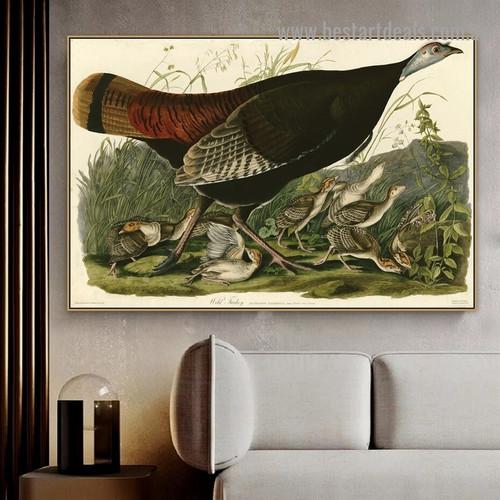 Wild Turkey John James Audubon Bird Landscape Ornithologist Reproduction Portrait Picture Canvas Print for Room Wall Garniture