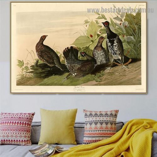 Spotted Grous John James Audubon Bird Landscape Ornithologist Reproduction Portrait Image Canvas Print for Room Wall Garniture