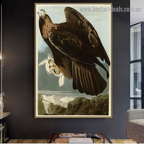 Golden Eagle John James Audubon Bird Landscape Ornithologist Reproduction Artwork Picture Canvas Print for Room Wall Adornment